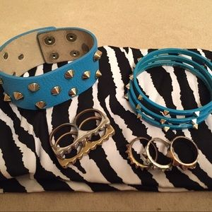 Jewelry - 4 Spiked Nordstrom bracelets & 5 spiked rings